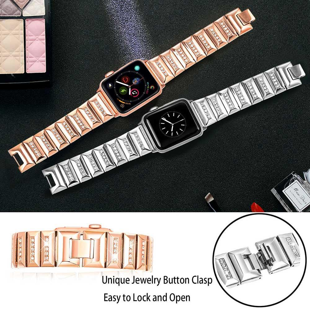 Apple Apple Watch Band, Series 5 4 3 crystal line bling Stainless Steel Strap, iced out Link Bracelet, Women Diamond iWatch 38mm, 40mm, 42mm, 44mm