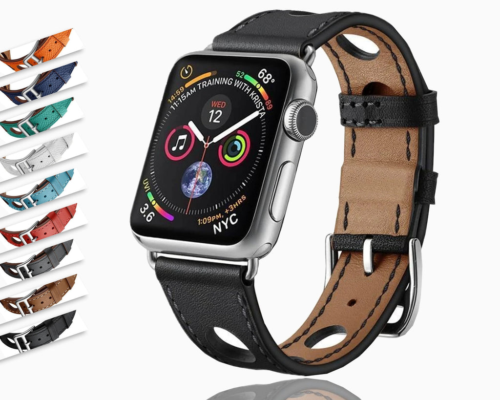 Apple Apple Watch band single leather tour 42mm 38mm 44mm 40mm fits iwatch nike hermes, series  5 4 3 belt replacement bracelet wrist, USA Fast Shipping