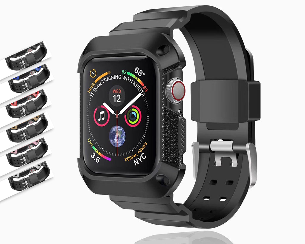 Apple Apple Watch band Sport Case strap silicone waterproof For  44mm 40mm iwatch Series 4 correa Rugged TPU screen Protective cover & bracelet wrist belt