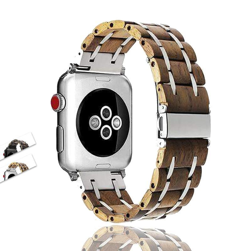 Apple Apple Watch band wood, Stainless Steel mix Watchband for iWatch  38mm 40mm 42mm 44mm Fits Series 1 2 3 4