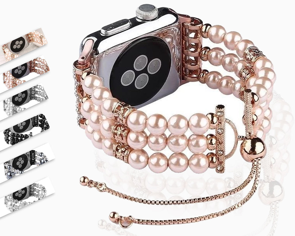 Apple Apple watch bands women  Fashion pearl bracelet cuff Strap for 38mm 40mm 44mm 42 series 4 3 2 1 handmade Replacement band