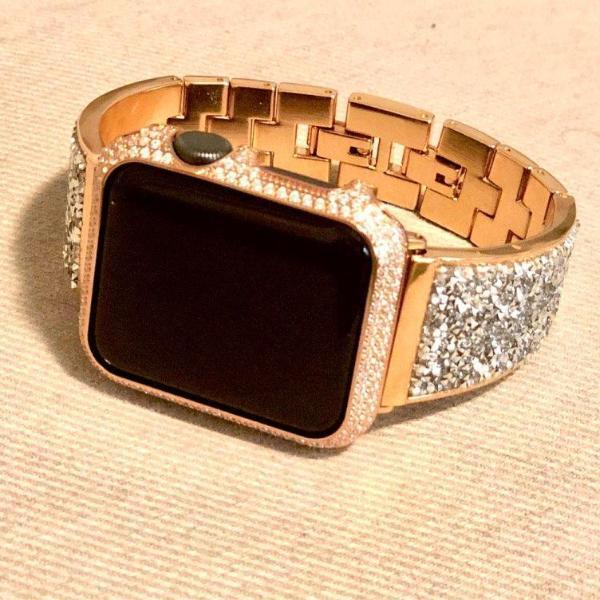 Apple Apple Watch case bezel cover, 18kt gold bling lab diamond look crystal rhinestone jewelry,  38mm, 42mm Series 4 3 2 1