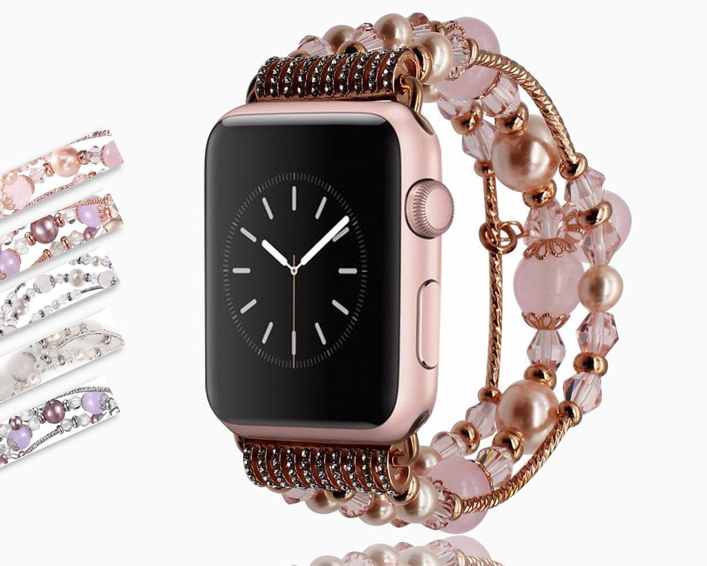 Apple Apple Watch Series 5 4 3 2  Band, Agate Beads Pearl Bracelet stretch Strap, iWatch Women Watchband Adapters 38mm, 40mm, 42mm, 44mm
