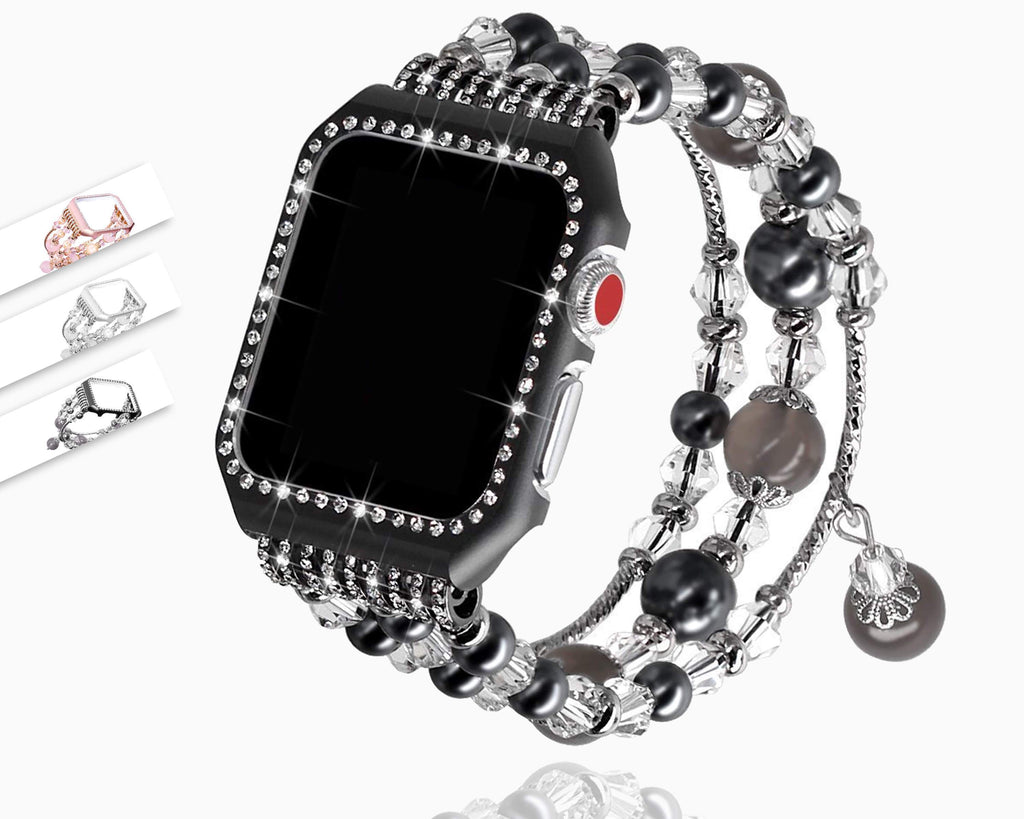 Apple Apple Watch Series 5 4 3 2 Band, Agate Wrist Belt Metal Case Luxury Accessories for Women 38mm, 40mm, 42mm, 44mm