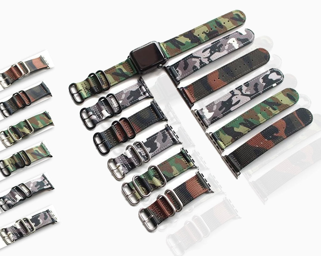 Apple Apple Watch Series 5 4 3 2 Band, Camouflage Sport Style Military Tactical Watchband, Men's Nylon Strap 38mm, 40mm, 42mm, 44mm