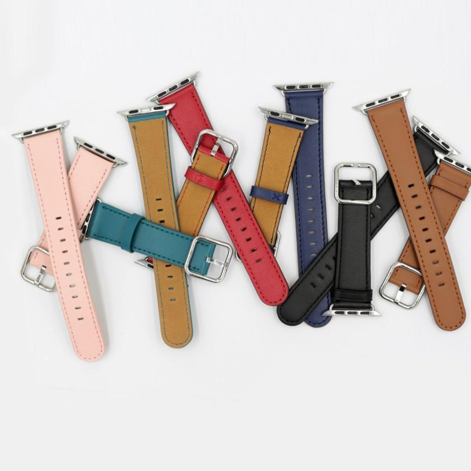 Apple Apple Watch Series 5 4 3 2 Band, Classic Buckle Band for iWatch Calf Leather With Square Buckle Modern Design 38mm, 40mm, 42mm, 44mm