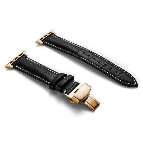 Apple Apple Watch Series 5 4 3 2 Band, Crocodile Grain cow Leather Butterfly Buckle Bands iWatch 38mm, 40mm, 42mm, 44mm -  US Fast Shipping