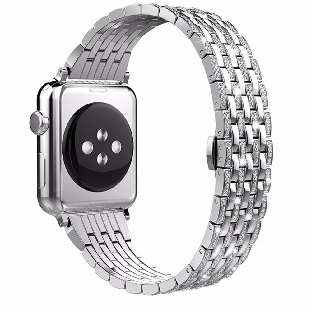 Apple Apple Watch Series 5 4 3 2 Band, Diamond Stainless Steel Strap Bracelet Loop 38mm, 40mm, 42mm, 44mm - US Fast Shipping