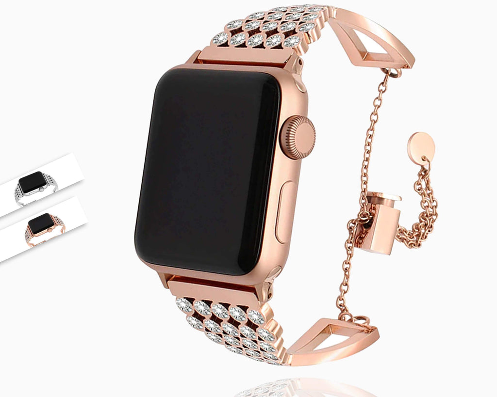 Apple Apple Watch Series 5 4 3 2 Band, Diamond Watchband Stainless Steel Band Women Strap Jewelry Bracelet for iWatch 38mm, 40mm, 42mm, 44mm