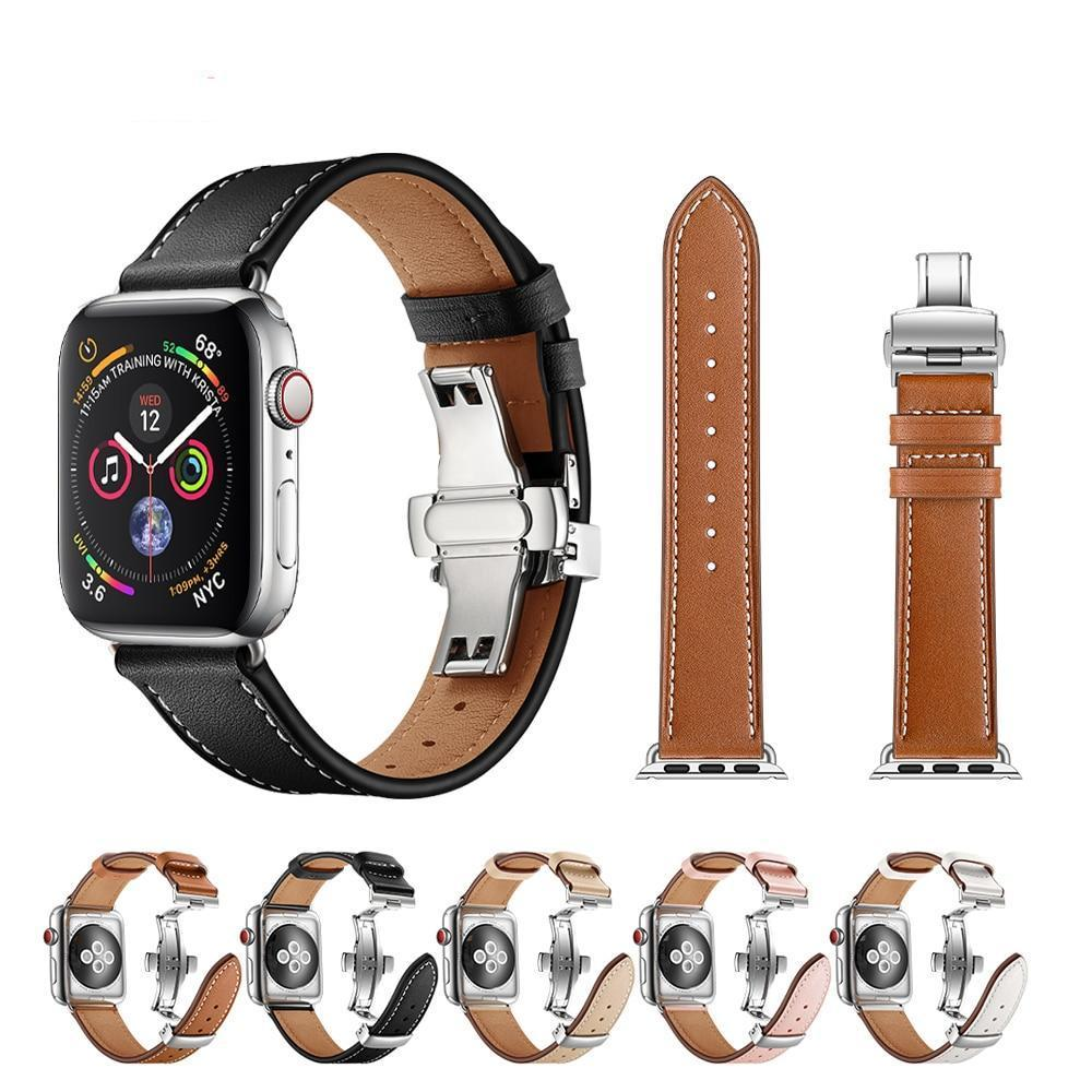 Apple Apple Watch Series 5 4 3 2 Band, Leather Strap Butterfly Clasp watchband Bracelet and Pin Buckle 38mm, 40mm, 42mm, 44mm US Fast Shipping