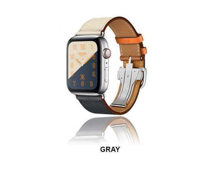 Apple Apple Watch Series 5 4 3 2 Band, Leather strap Deployment Buckle watch Strap watchband Hermes 38mm, 40mm, 42mm, 44mm - US Fast Shipping