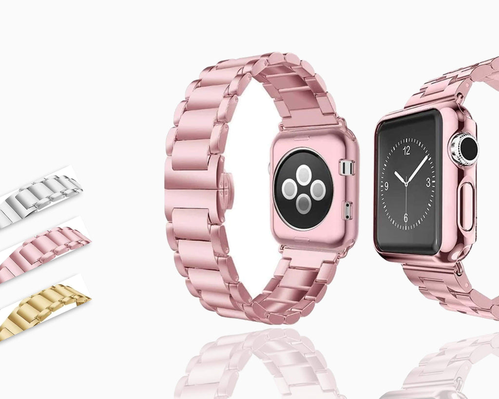 Apple Apple Watch Series 5 4 3 2 Band, Luxury case bundle set, Stainless Steel strap bracelet metal rolex link watchband, 38mm, 40mm, 42mm, 44mm