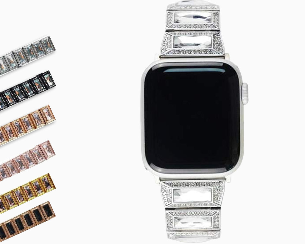 Apple Apple Watch Series 5 4 3 2 Band, Luxury Diamond Bling for Women Butterfly Buckle Metal Strap 38mm, 40mm, 42mm, 44mm