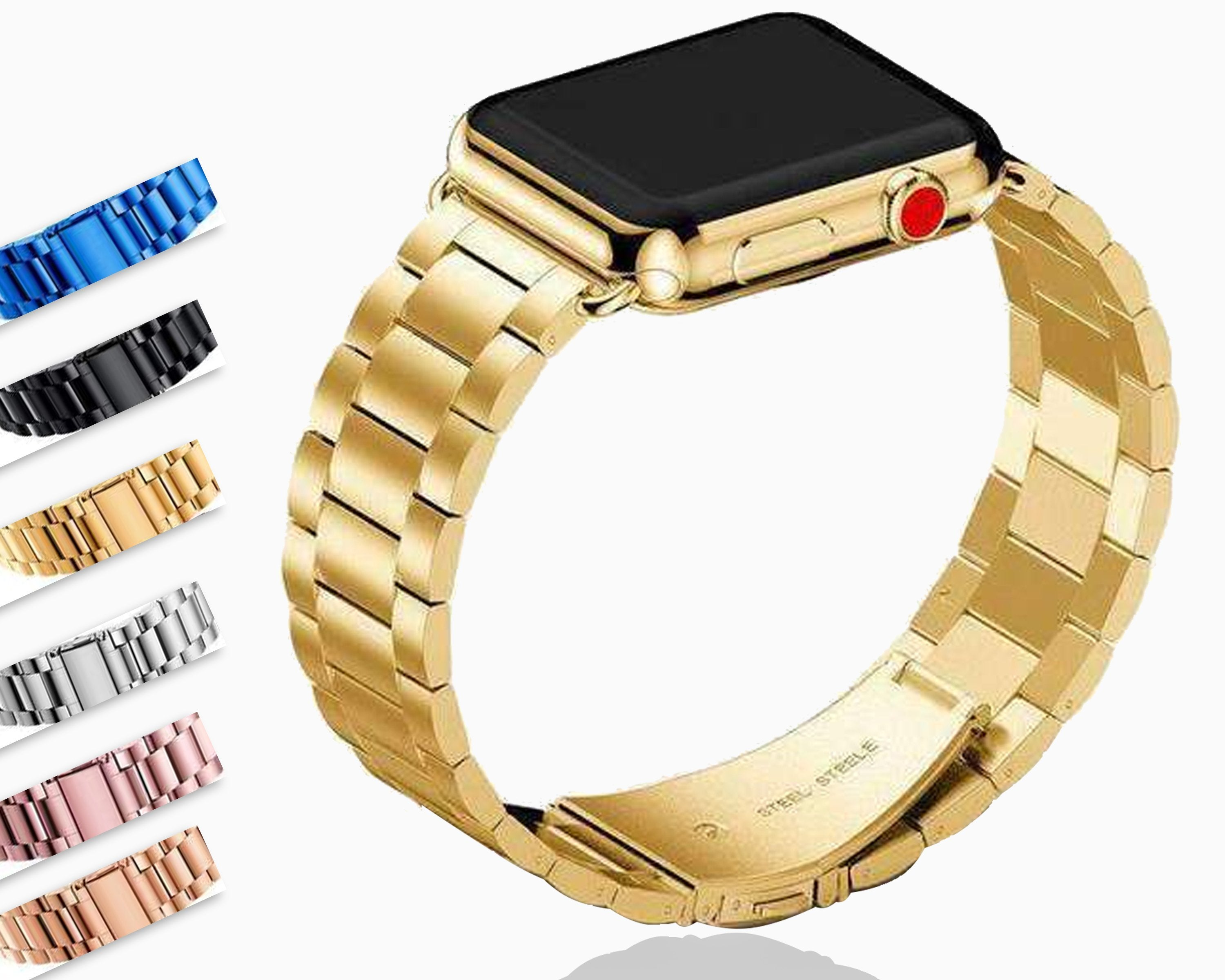 Bands Compatible for iWatch 44mm//42mm,44mm//42mm Leather Strap Wrist Band Replacement W Silver Metal Clasp Compatible with iWatch Series 1 2 3 4 5 44mm//42mm Pretty Yellow and Red Rose Pattern