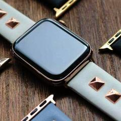 Apple Apple Watch Series 5 4 3 2 Band, Punk gold Studded Leather Rivets Design, fits iWatch, 38mm, 40mm, 42mm, 44mm
