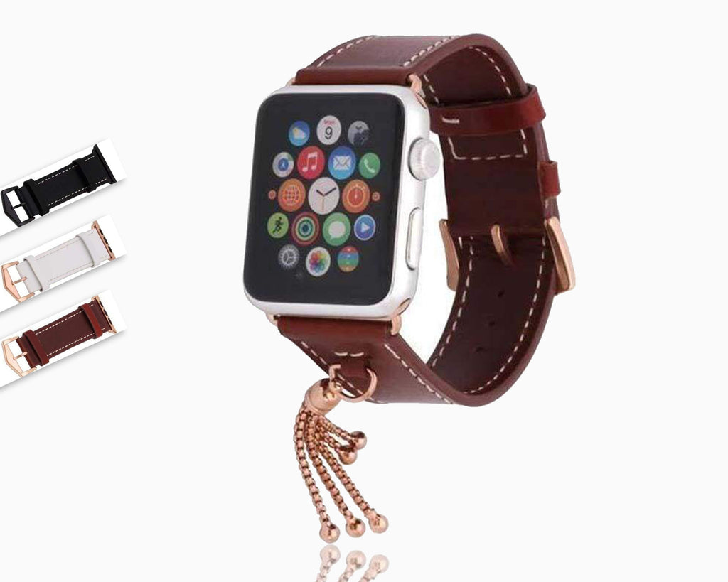 Apple Apple Watch Series 5 4 3 2 Band, Rose gold Watch band Women Fashion Tassels Cowhide Genuine Leather Strap 38mm, 40mm, 42mm, 44mm