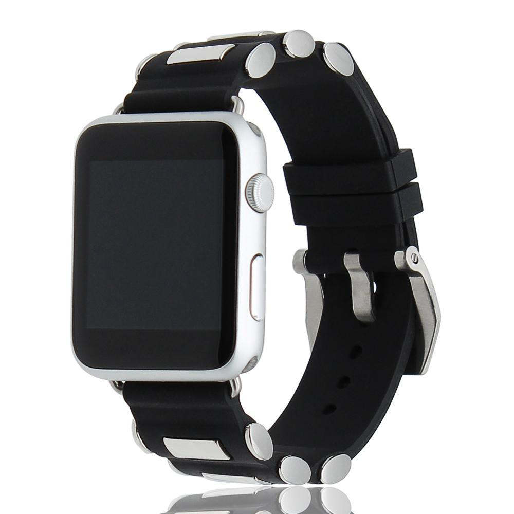 Apple Apple Watch Series 5 4 3 2 Band, Silicone Rubber Steel Tang Buckle Band Wrist Strap Sports Bracelet Black 38mm, 42mm