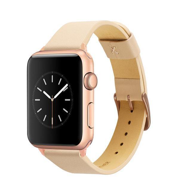 Apple Apple Watch Series 5 4 3 2 Band, Simple Minimalist Genuine Leather Watchband Steel Clasp Strap Bracelet 38mm, 40mm, 42mm, 44mm