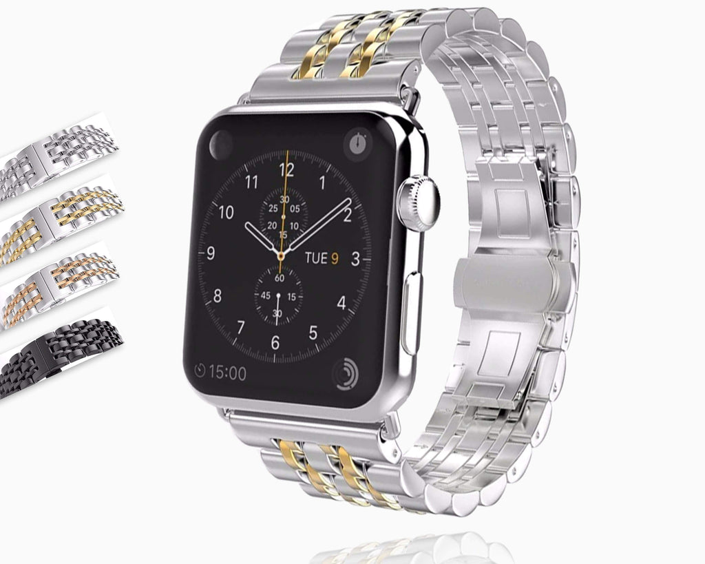 Apple Apple Watch Series 5 4 3 2 Band, Stainless Steel Rolex Style Strap, Links Watchband Smart Watch Metal Bracelet 38mm, 40mm, 42mm, 44mm