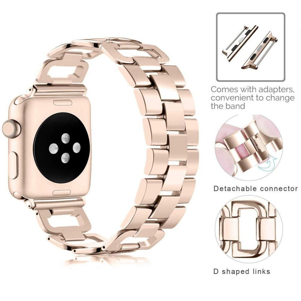 Apple Apple Watch Series 5 4 3 2 Band, Upgarded Strap Metal Replacement Wristband Sport Strap for Nike+ 38mm, 40mm, 42mm, 44mm