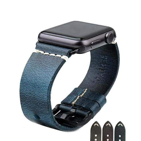 Apple Apple Watch Series 5 4 3 2 Band, Vintage Greased Leather Fashion Watchband Bracelet Watch Band 38mm, 40mm, 42mm, 44mm