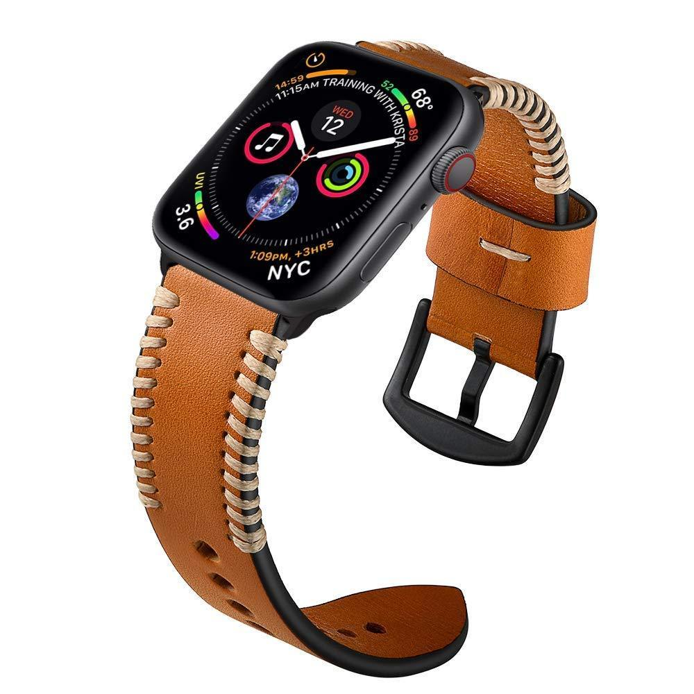 Apple Apple Watch Series 5 4 3 2 Band, Watch Strap White Wire Genuine Leather Strap  Watchband for iWatch 38mm, 40mm, 42mm, 44mm