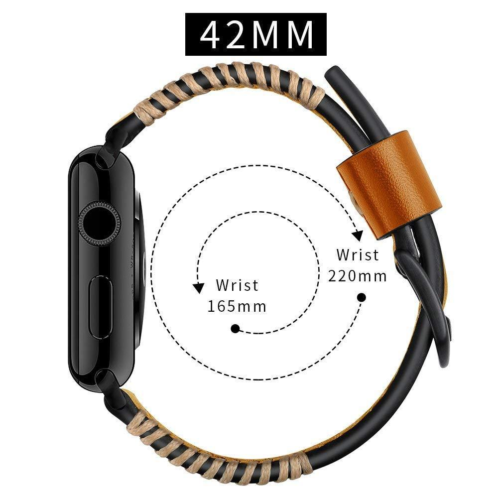 Apple Watch Series 6 5 4 3 2 Band, Watch Strap White Wire Genuine Leather Strap  Watchband for iWatch 38mm, 40mm, 42mm, 44mm