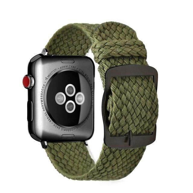 Apple ArmyGreen black / 44mm Apple Watch Series 5 4 3 2 Band, Soft Breathable Nylon Polyester Watch, Sport Bracelet Strap for iWatch 38mm, 40mm, 42mm, 44mm