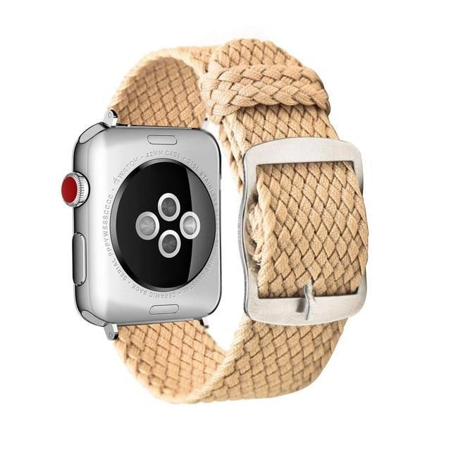 Apple Beige / 44mm Apple Watch Series 5 4 3 2 Band, Soft Breathable Nylon Polyester Watch, Sport Bracelet Strap for iWatch 38mm, 40mm, 42mm, 44mm