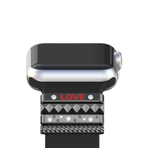 "Apple Black / 38 mm Fits 38mm only, Original Silicone Strap Ornament for Apple Watch Band Series 1 2 3 4 Stainless Steel Metal women's Decorative Ring loop ""LOVE"" Gift"