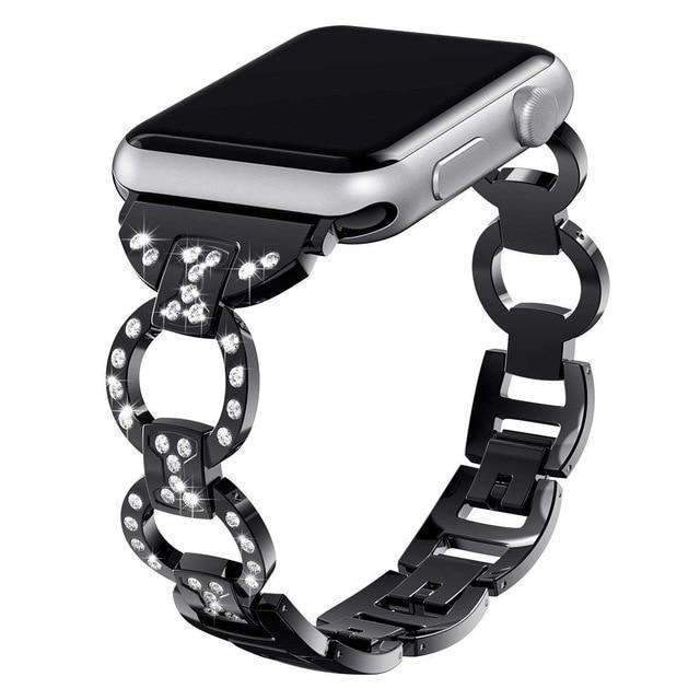 Apple Black / 38mm/40mm Apple Watch bling diamond band, 38mm 40mm 42mm 44mm, Luxury Stainless Steel Link Strap For iWatch Series 3 2 1 - US Fast shipping
