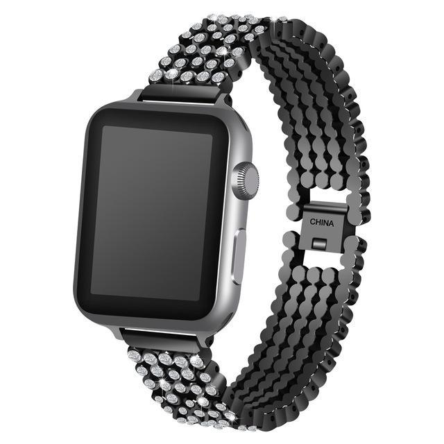 Apple black / 38mm / 40mm Apple Watch Series 5 4 3 2 Band, Stylish Crystal Diamond stainless steel Replacement Band for iWatch 38mm, 42mm, 40mm, 44mm