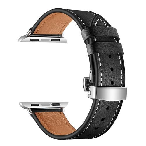 Apple black / 38mm Apple Watch Series 5 4 3 2 Band, Leather Strap Butterfly Clasp watchband Bracelet and Pin Buckle 38mm, 40mm, 42mm, 44mm US Fast Shipping