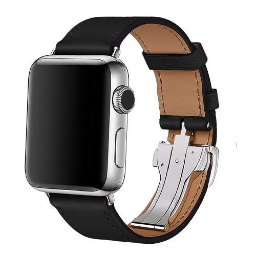 Apple black / 38mm Apple Watch Series 5 4 3 2 Band, Leather strap Deployment Buckle watch Strap watchband Hermes 38mm, 40mm, 42mm, 44mm - US Fast Shipping