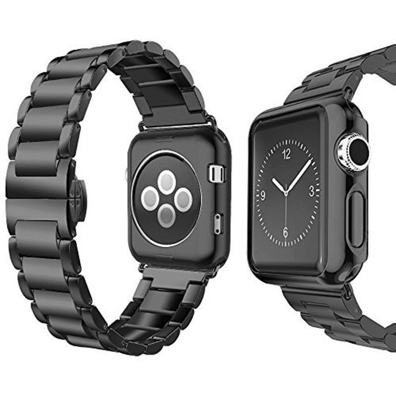 Apple black / 38mm Apple Watch Series 5 4 3 2 Band, Luxury case bundle set, Stainless Steel strap bracelet metal rolex link watchband, 38mm, 40mm, 42mm, 44mm