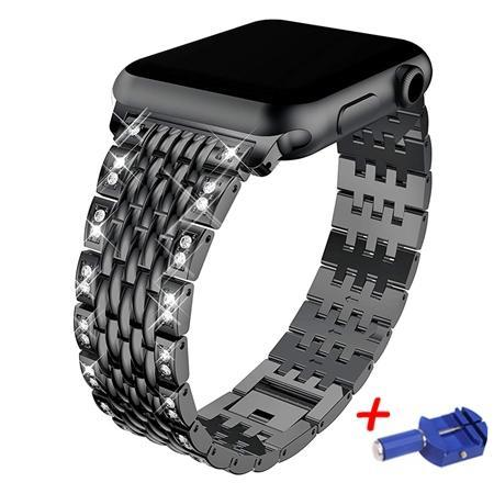 Apple black / 38mm Link bracelet strap For Apple watch band 42mm 38mm iwatch 4 band 44mm 40mm Diamond Stainless steel watchband Apple watch 4/3/2/1
