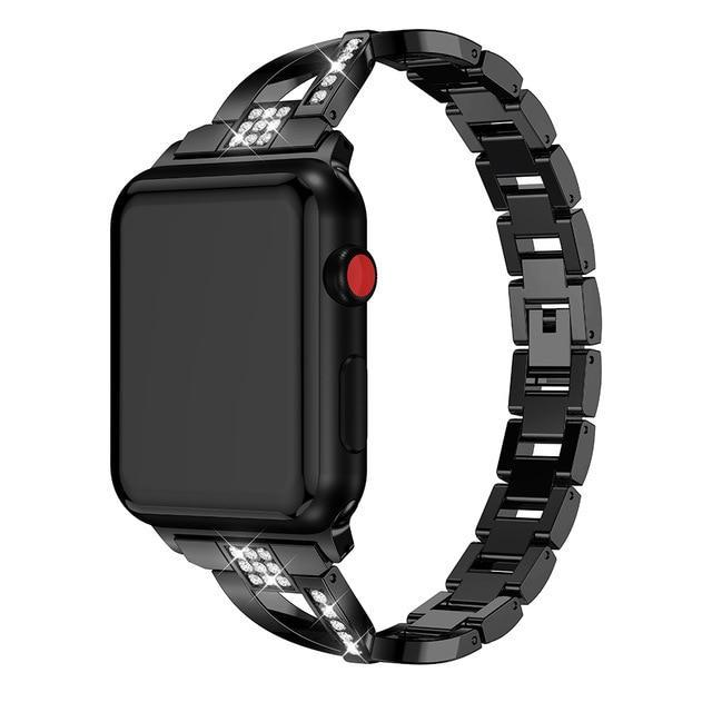 Apple Black / 38mm or 40mm For Apple Watch band 40mm 44mm 38mm 42mm women Diamond Band for iWatch series 4 3 2 1  bracelet stainless steel strap Wristband