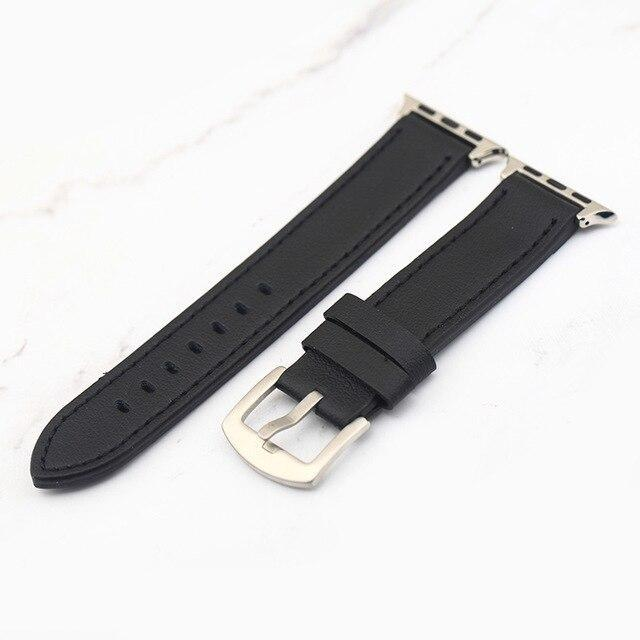 Apple Black / 38mm Plus Strap Cowhide Faux leather Retro Design Watch Strap 38 42mm Replacement For Apple Watch 135*80mm Lengthen Watchband