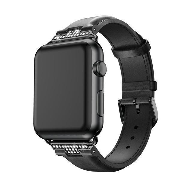 Apple Black / 42mm / 44mm Apple Watch Series 5 4 3 2 Band, Luxury Leather Formal Strap for iWatch  38mm, 40mm, 42mm, 44mm