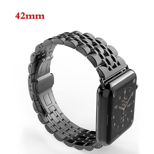 Apple black / 42mm / 44mm Apple Watch Series 5 4 3 2 Band, Luxury metal Stainless Steel rolex Strap Bracelet Wrist Belt for iWatch 38mm, 40mm, 42mm, 44mm US Fast Shipping