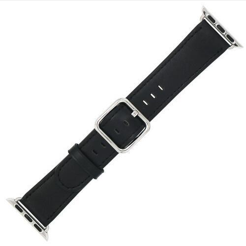 Apple Black A / 42 mm Leather Strap For Apple Watch Band 42mm 38mm iwatch 4/3 Bracelet 44mm 40mm bracelet Stainless Steel Classic Buckle Watchband, USA Fast Shipping