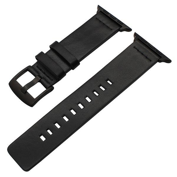 Apple Black B / 38mm Genuine Leather Watchband for iWatch Apple Watch 38mm 40mm 42mm 44mm Series 1 2 3 4 Band Steel Buckle Strap Bracelet