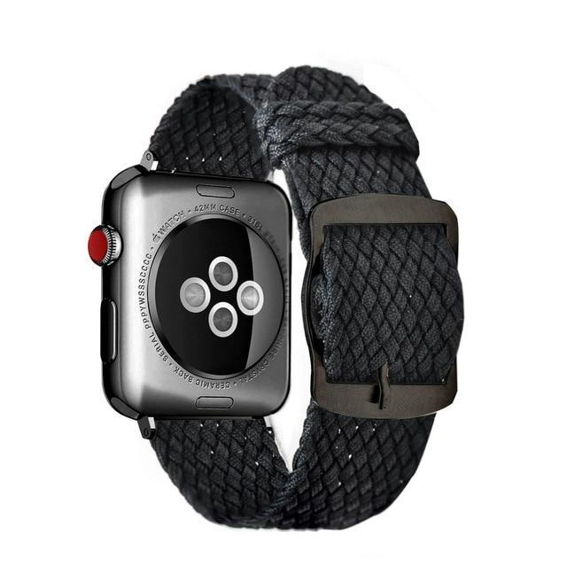 Apple Black Black / 44mm Apple Watch Series 5 4 3 2 Band, Soft Breathable Nylon Polyester Watch, Sport Bracelet Strap for iWatch 38mm, 40mm, 42mm, 44mm