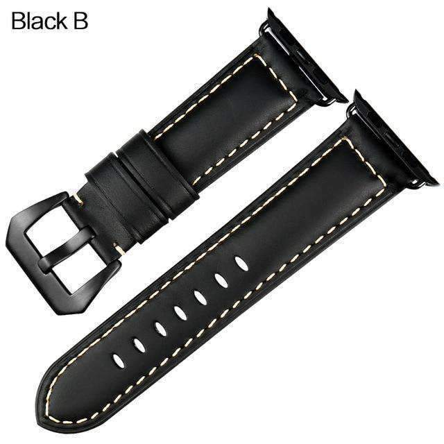 Apple Black buckle with black leather / 42mm / 44mm Apple Watch Series 5 4 3 2 Band, Vintage Apple watch Band Tooled Leather iWatch Bracelet  42mm 38mm 38mm, 40mm, 42mm, 44mm