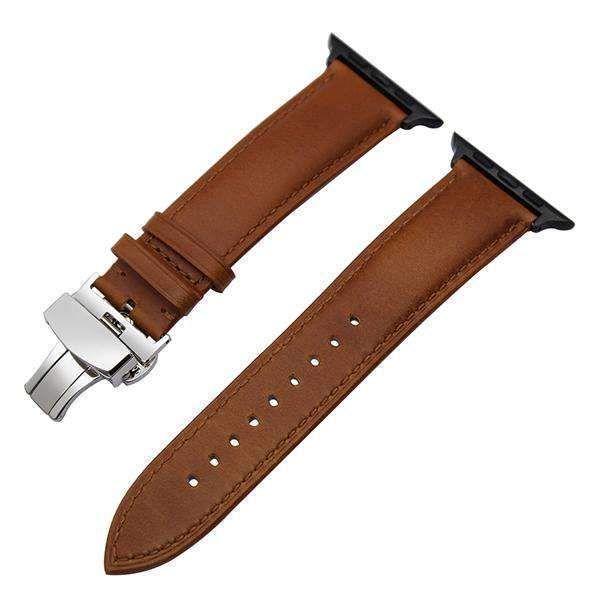 Apple Black buckle with light brown leather / 38mm / 40mm Apple Watch Series 5 4 3 2 Band, Italian Genuine Leather Watchband Crazy Horse, Steel Butterfly Buckle Wrist Bracelet 38mm, 40mm, 42mm, 44mm