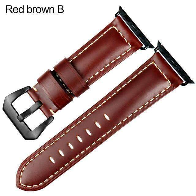 Apple Black buckle with red brown leather / 42mm / 44mm Apple Watch Series 5 4 3 2 Band, Vintage Apple watch Band Tooled Leather iWatch Bracelet  42mm 38mm 38mm, 40mm, 42mm, 44mm