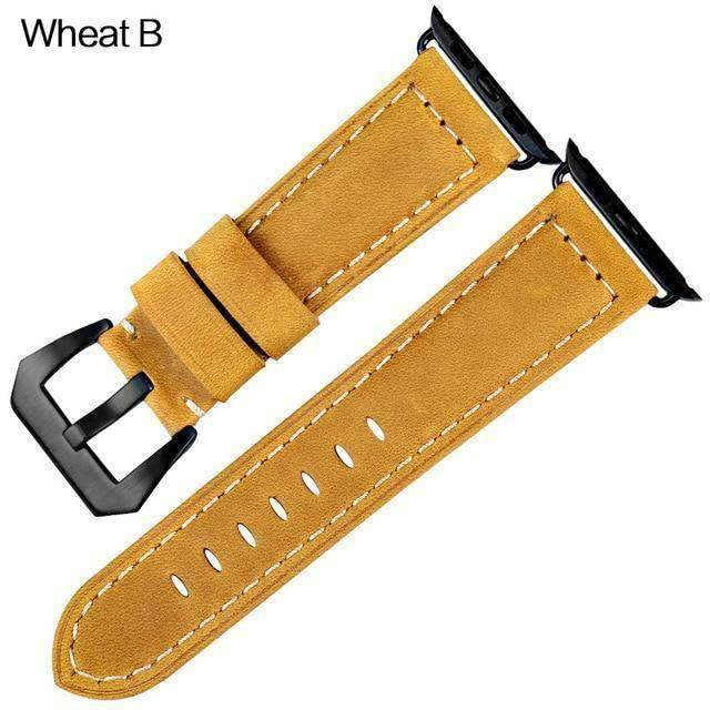 Apple Black buckle with wheat leather / 42mm / 44mm Apple Watch Series 5 4 3 2 Band, Vintage Apple watch Band Tooled Leather iWatch Bracelet  42mm 38mm 38mm, 40mm, 42mm, 44mm