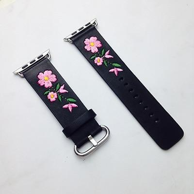 Apple Black / For Apple watch 38 Faux Leather Watchband For Apple Watch 38mm 42mm Red Flower Embroidery Women Men Replace Bracelet Strap Band for iwatch 1 2 3