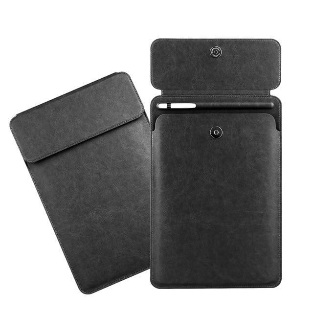 Apple black iPad Pro 10.5  sleeve Pouch Bag cover with Button flap and Pencil holder fits  9.7 & new ipad 11 2018 Release