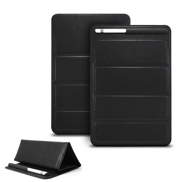Apple Black Luxury Leather Sleeve Case For iPad 2018 9.7 Pro 10.5 Air Mini, Retro Pouch Folding Bag with Pencil Holder Slot Cases